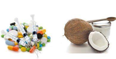 medicamentos y aceite de coco