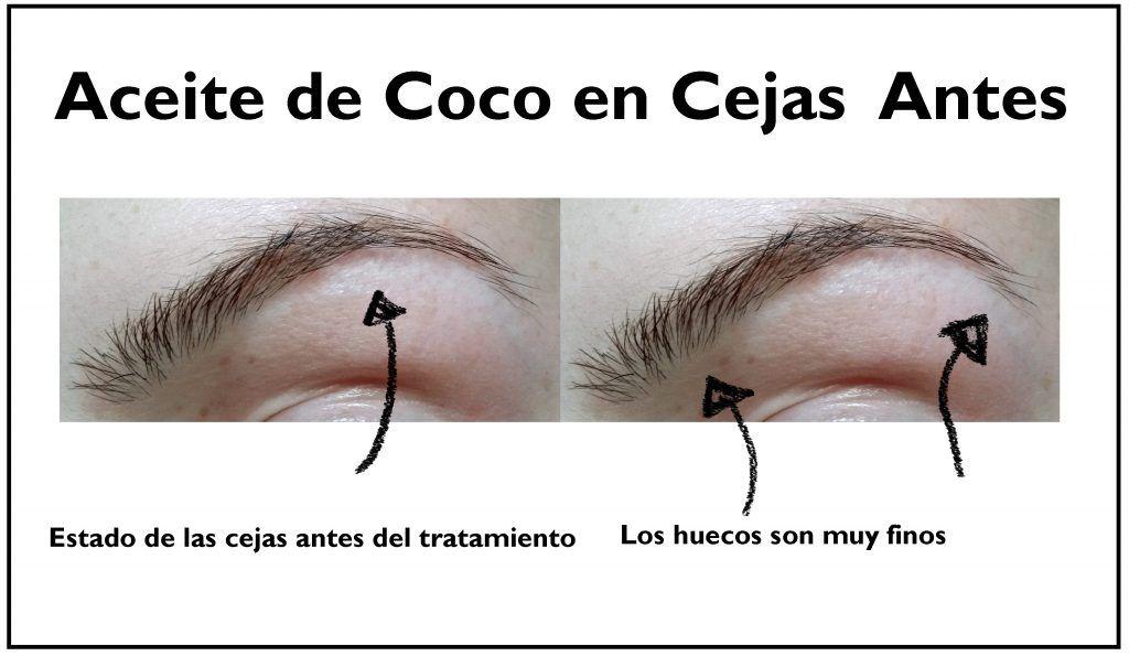 cejas antes de usar aceite de coco
