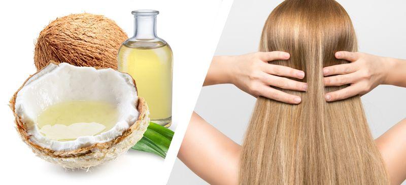Mujer con acondicionador de aceite de coco en el pelo